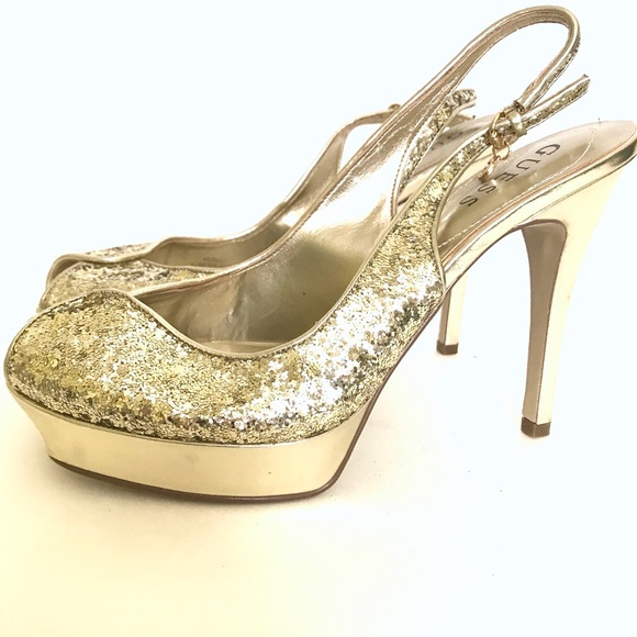Guess Shoes - New GUESS Gold Glitter Open Toe Heels. Size 8